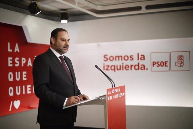 Rueda de prensa sobre actualidad política del PSOE en su sede nacional