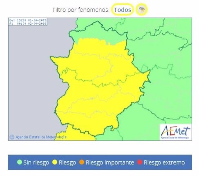 El 112 Extremadura amplía la alerta amarilla por tormentas para este lunes a la