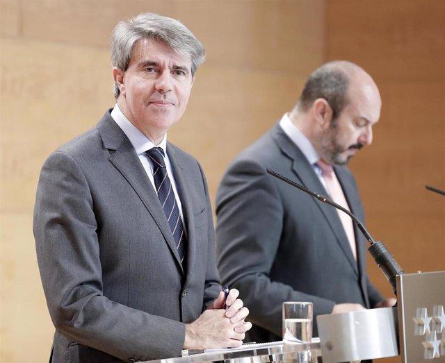 El presidente de la Comunidad de Madrid, Ángel Garrido, y el portavoz, Pedro Rol