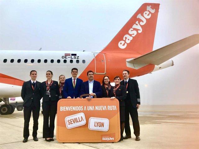 Sevilla.- EasyJet inaugura su nueva ruta Sevilla-Lyon