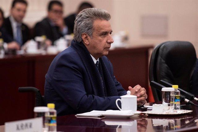 Ecuadorean President Lenin Moreno attends a meeting with Ecuadorean President Le