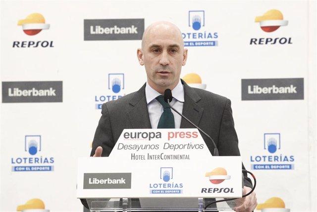 Desayuno Deportivo de Europa Press con Luis Rubiales, presidente de la Real Fede