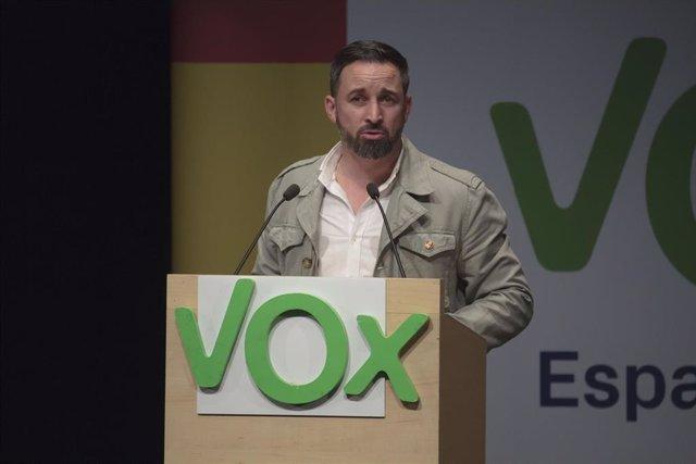 Santiago Abascal en un acto en Logroño