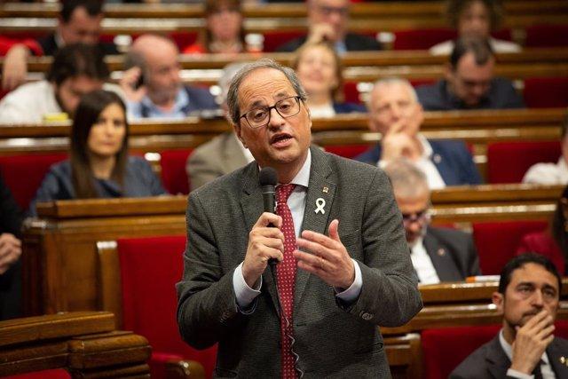 Quim Torra En El Ple Del Parlament De Catalunya