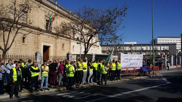 Sevilla.- Los taxistas se concentran ante el Parlamento en demanda