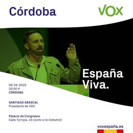Córdoba.- 28A.- Santiago Abascal dará un mitin en Córdoba tres días antes de ini