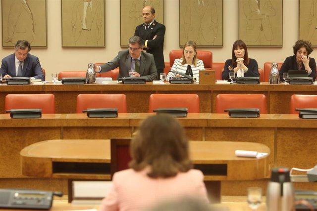 La vicepresidenta del Gobierno, Carmen Calvo, asiste a la reunión de la Diputaci