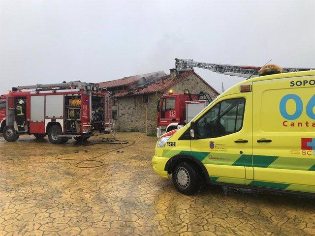 Un incendio causa importantes daños en una vivienda de Molledo