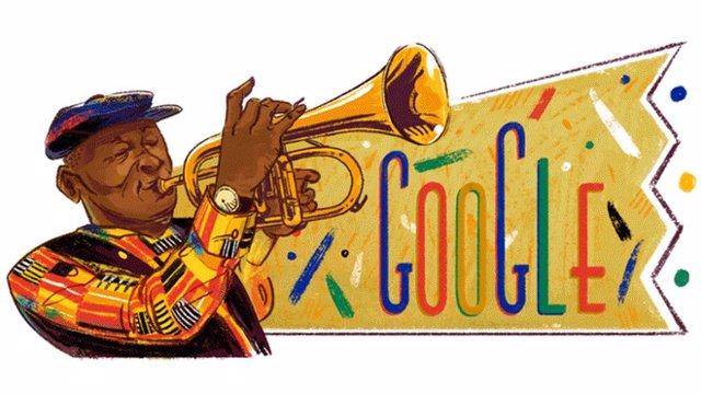 Google homenajea en su 'doodle' al trompetista Hugh Masekela por el 80 aniversar