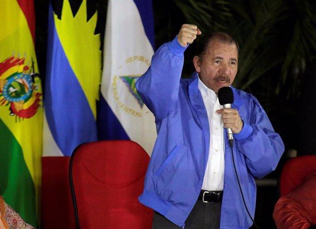 Nicaragua President Daniel Ortega speaks during a meeting with representatives o