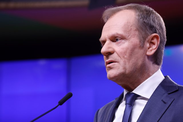 EU Council President press conference on Brexit in Brussels
