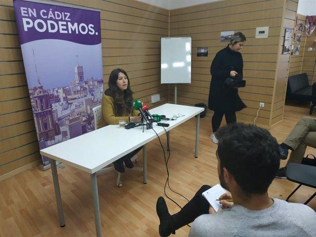 La coordinadora de Podemos Cádiz, Laura Mingorance