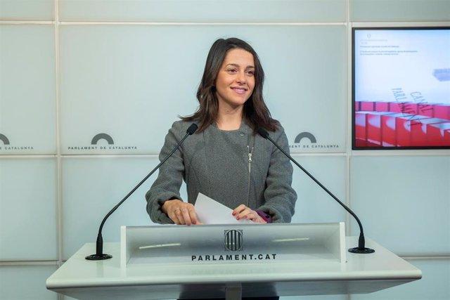 Rueda de prensa de Ciudadanos en el Parlament de Catalunya