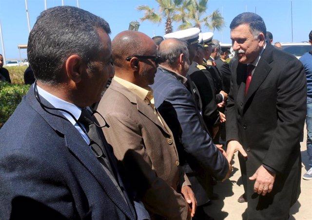 Fayez Serraj a su llegada a Trípoli en marzo de 2016