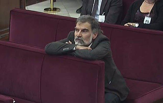 Jordi Cuixart durant una sessió del judici al procés en el Suprem