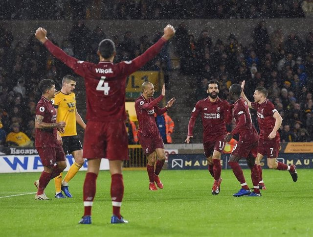 El delantero egipcio Mohamed Salah celebra un gol con el Liverpool FC
