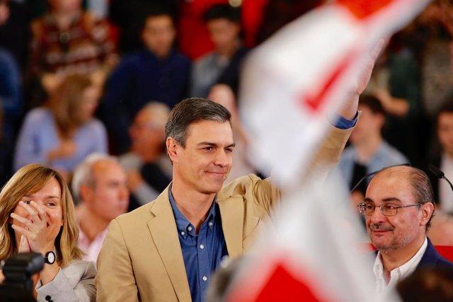 Mitin del PSOE-Aragón con la intervención del Presidente del Gobierno, Pedro Sán