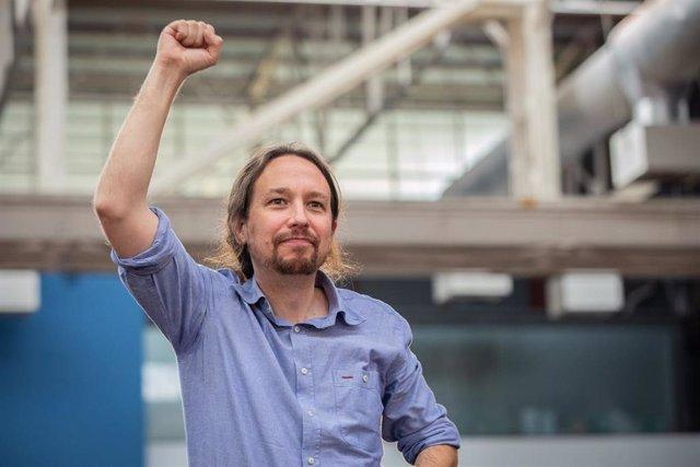 Acto 'Guanyem per Avançar' con el secretario general de Podemos, Pablo Iglesias