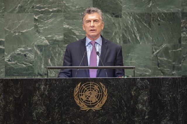 El presidente de Argentina, Mauricio Macri, ante la Asamblea General de la ONU.