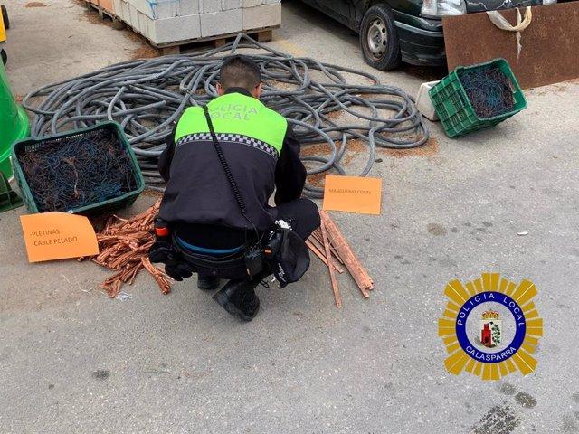 Sucesos.- Policía Local de Calasparra incauta 300 kilos de cobre robado