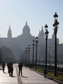 MNAC, Avenida Maria Cristina, Palau Nacional, Farolas