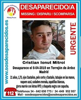Sucesos.- Desaparece un joven de 21 años en Torrejón de Ardoz