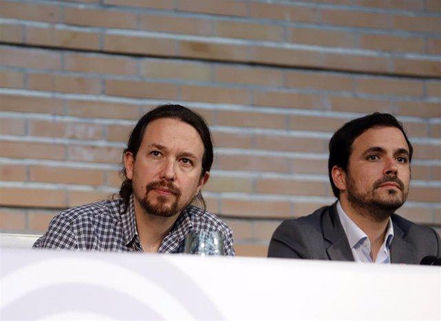 Pablo Iglesias, Alberto Garzón y Antonio Maíllo participan en un acto público en la Facultad de Comunicación de Málaga.