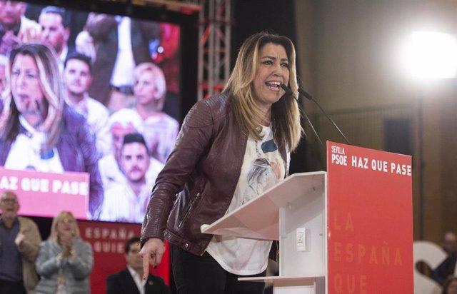 El presidente del Gobierno, Pedro Sánchez, participa en un mítin junto a la secretaria general del PSOE-A, Susana Díaz