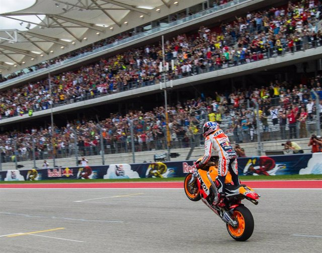 Marc Marquez of Spain and Repsol Honda Team celebrates the victory during the MotoGP Red Bull U.S. Grand Prix of The Americas - Race at Circuit of The Americas on April 10, 2016 in Austin, Texas.