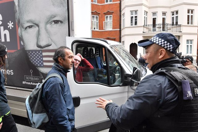 Supporters of Julian Assange protest in London