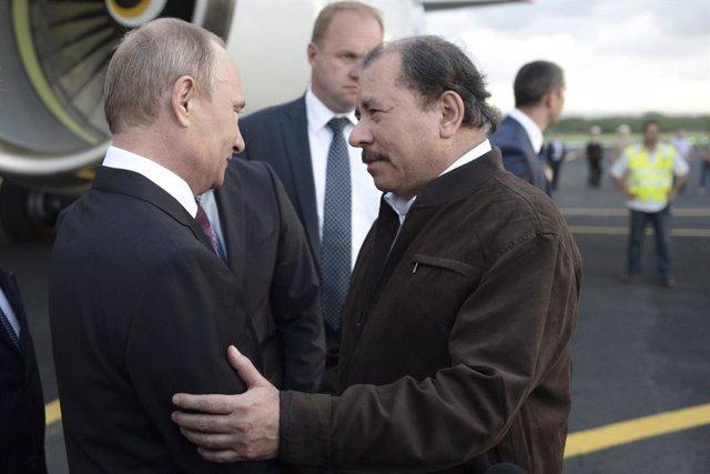 Vladímir Putin y Daniel Ortega en Managua, Nicaragua