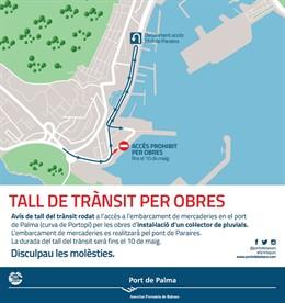 Tallen el trànsit a l'embarqui de mercaderies de la curba de Portopí fins al 10 de maig