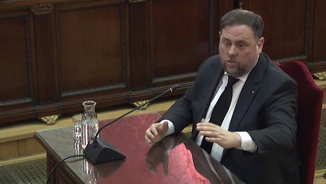 El exvicepresidente de la Generalitat de Catalunya, Oriol Junqueras, declara en el juicio del procés