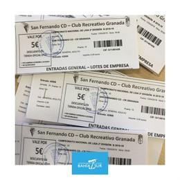 Cádiz.- Bahía Sur regala 300 entradas para el partido de este sábado entre San Fernando CD - Club Recreativo Granada