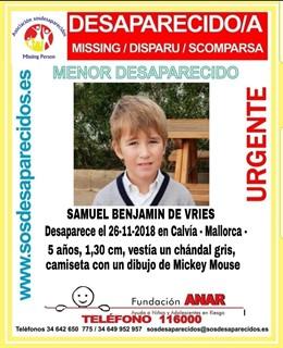 Successos.- Continuen cercant un nen de 5 anys desaparegut al novembre a Calvià