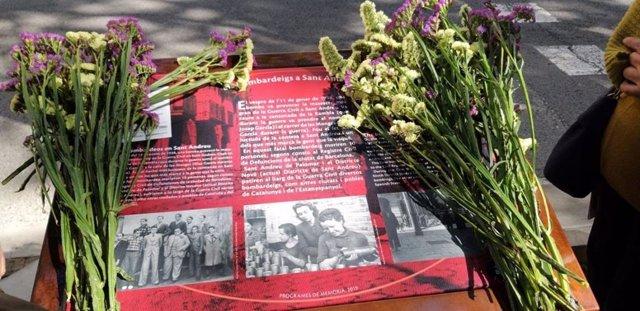 Barcelona homenatja les 11 víctimes dels bombardejos de 1938 en Sant Andreu del Palomar