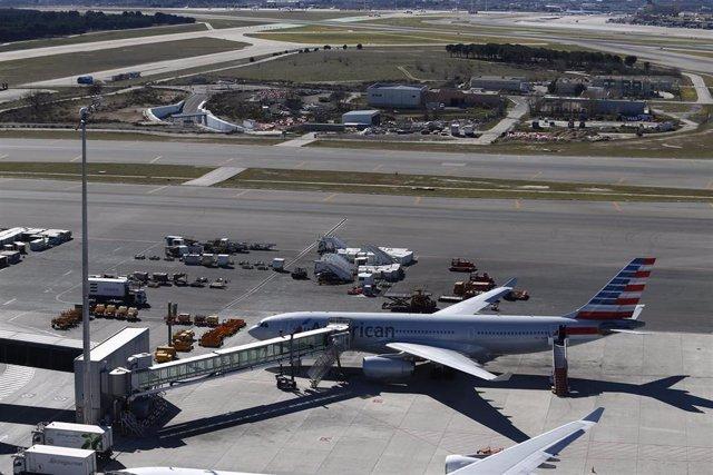 Avión de American Airlines en Barajas