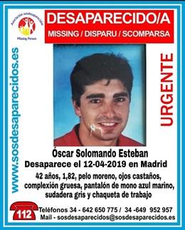 Desaparecido en Madrid desde este viernes un hombre de 42 años