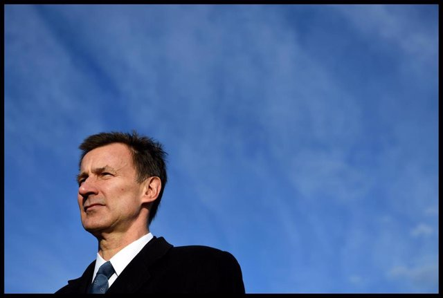 Jeremy Hunt Working on the Plane