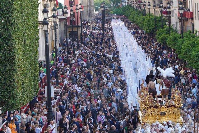 Semana Santa Sevilla 2019. Hermandad de la Paz desde la plaza de San Francisco