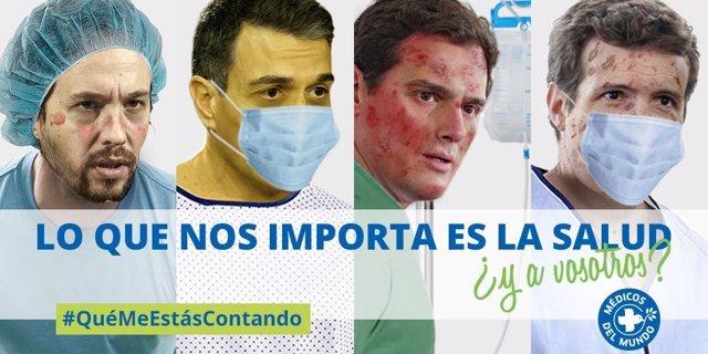 """28A.- Médicos Del Mundo Pide A Sánchez, Casado, Rivera E Iglesias Que """"No Se Olviden De Lo Que Importa: La Sanidad"""""""