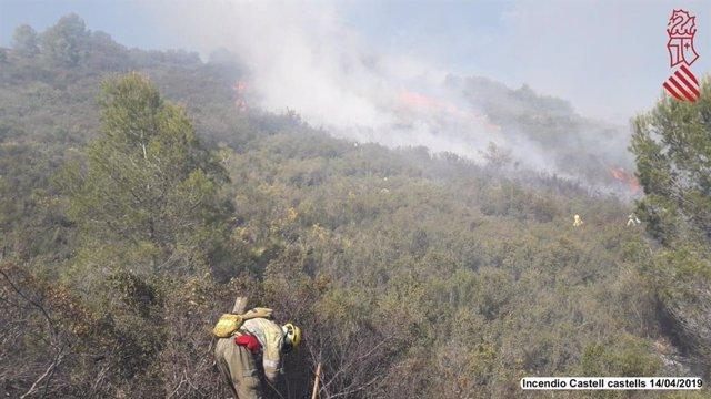 Alicante.- Estabilizado el incendio de Castell de Castells