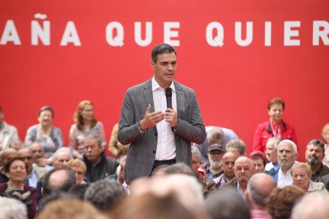 Pedro Sánchez, en un míting