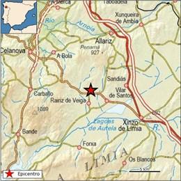 Galicia registra cinco terremotos entre el domingo y el lunes, tres de ellos en Rairiz de Veiga (Ourense)