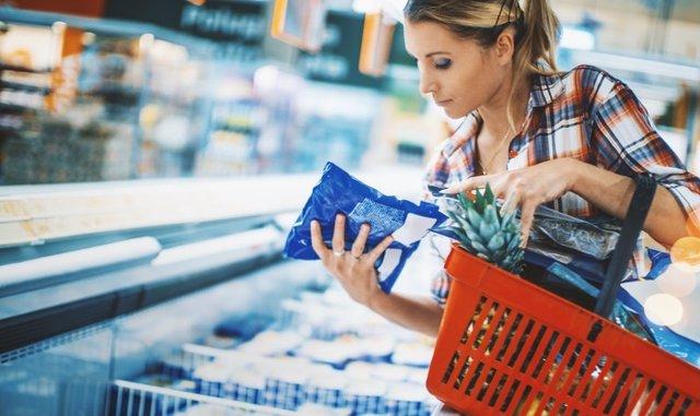Supermercado, producto, etiqueta