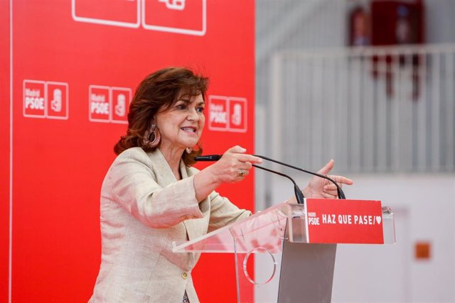 Acto del PSOE en Arganda del Rey (Madrid) con la participación de la vicepresidenta del Gobierno, Carmen Calvo
