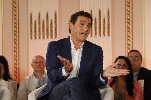 El president de Ciudadanos, Albert Rivera, participa en una trobada del partit a Albacete