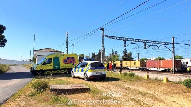 Sevilla.- Sucesos.- Herido un trabajador de Adif tras manipular unos vagones en la estación de La Salud de Bellavista