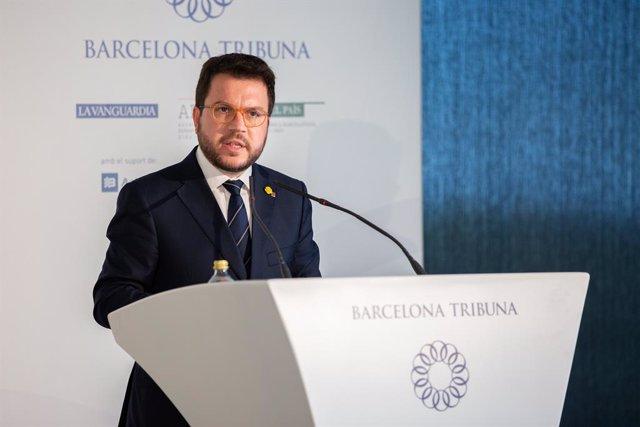 El vicepresident de la Generalitat, Pere Aragonès participa en la conferència ?Cicle Eleccions Generals 28-A? organitzada per Barcelona Tribuna