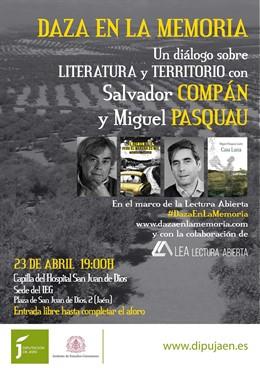 Jaén.- MásJaén.- Compán y Pasquau protagonizarán un debate sobre literatura y territorio por el Día del Libro